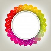 Creative Abstract Digital Flower With Round Frame For Your Text