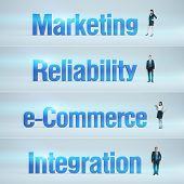 Marketing, Reliability, e-Commerce, Integration : pack of banners with people (man / woman) and word
