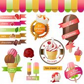 Colorful ice cream emblems set