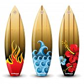 3 colorful wooden surf boards