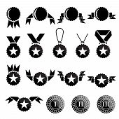 Black trophy and awards icons set