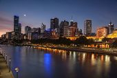 Melbourne at night looking across the Yarra River
