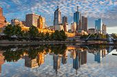 stock photo of cbd  - Melbourne  at dawn looking across the Yarra River - JPG