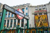 LONDON, UK - APRIL 07: We Will Rock You musical in Tottenham Court Road with Underground entrance in