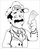 Conductor de autobús - ilustración del personaje de Vector