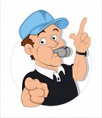 stock photo of umpire  - Drawing Art of Young Cartoon Referee Character Vector Illustration - JPG