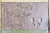 Dick Van Dykes Handprints In Hollywood Boulevard In The Concrete Of Chinese Theatre's Forecourt