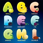 Fruits And Berries In Alphabetical Order. Cartoon Vector Illustration. Letters from A to I.