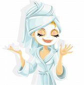 Cute girl with a cosmetic mask on her face in bathrobe isolated on white background