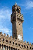 Front of Palazzo Vecchio and the clock tower on Piazza della Signoria  in Florence