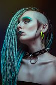 picture of dreadlock  - Pretty girl with dreadlocks posing in studio - JPG