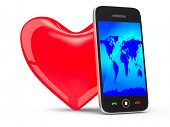 phone and heart on white background. Isolated 3D image