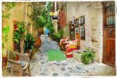 charming streets of greek islands. Crete, retro styled picture