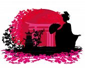 Abstract Background- Geisha Silhouette At Sunset