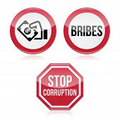 No bribes, sto corruption red warning sign