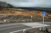 Pedestrian Crossing On Lava Flow
