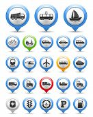 stock photo of barge  - Collection of map markers with transport icons - JPG