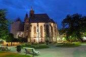 Famous St. Elizabeth's Cathedral after sunset in Kosice, Slovakia
