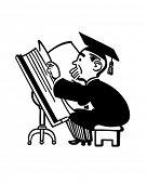 Grad estudando grande livro - Retro Clip Art ilustração