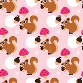 Seamless squirrel eating nut illustration pink background pattern for girls in vector