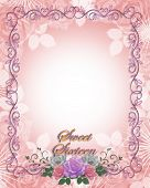 image of sweet sixteen  - Image and illustration composition lavender pink white roses design element for Sweet 16 birthday party invitation background border or frame with copy space - JPG