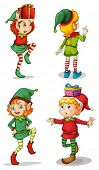 stock photo of elf  - Illustration of the four playful Santa elves on a white background - JPG