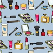Cartoon Cosmetics Seamless Background