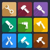 Working tools flat icon set 13