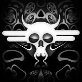 foto of gruesome  - White death skull on black metal background - JPG