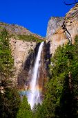 stock photo of granite dome  - Yosemite Bridalveil fall waterfall National Park California - JPG