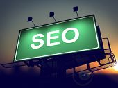 SEO - Billboard on the Sunrise Background.