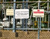stock photo of retarded  - Danger signs on the power sub station fence - JPG