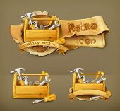 Wooden toolbox vector icon