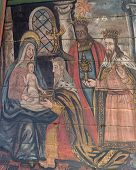 Adoration Of Baby Jesus Painting In Tornio Church, Finnish Lapland.
