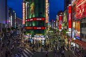 Brightly Lit Streets In East Shinjuku, Tokyo, Japan.