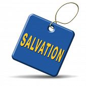 salvation follow jesus and god to be rescued save your soul icon button with text and word