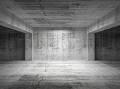 Empty Dark Abstract Concrete Room Perspective Interior
