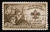 picture of boy scouts  - A 1950 issued 3 cent United States postage stamp showing Boy Scouts of America - JPG