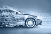 pic of three dimensional shape  - speeding abstract car with water splashing from the front - JPG