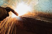 stock photo of manufacturing  - Welding Steel Structure on Structure In Workshop - JPG