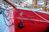 Red Bow Of An Old Sailing Ship