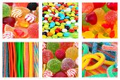 Collage of different colorful candies and sweets