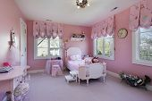 Pink girls room in luxury suburban home