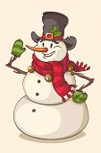 Christmas character snowman. Vector illustration.