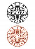 New Year Rubber Stamp