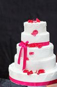 Wedding Cake In White And Pink.