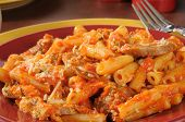 Italian Sausage And Meatballs On Rigatoni