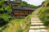 Stone steps in ping'an village at longsheng china