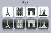 Landmarks of Paris. Set of monochrome icons. Editable vector illustration.