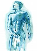 stock photo of jock  - Watercolor painting of a man holding a towel like a locker room jock - JPG
